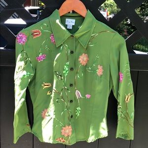 Tracy Reese Silk Shirt w/ Flower Embroidery